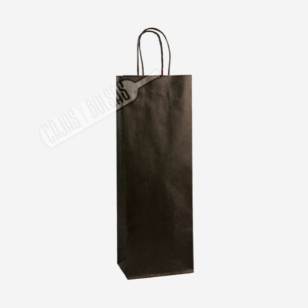 Bolsa asa rígida para 1 botella kraft verjurado negro