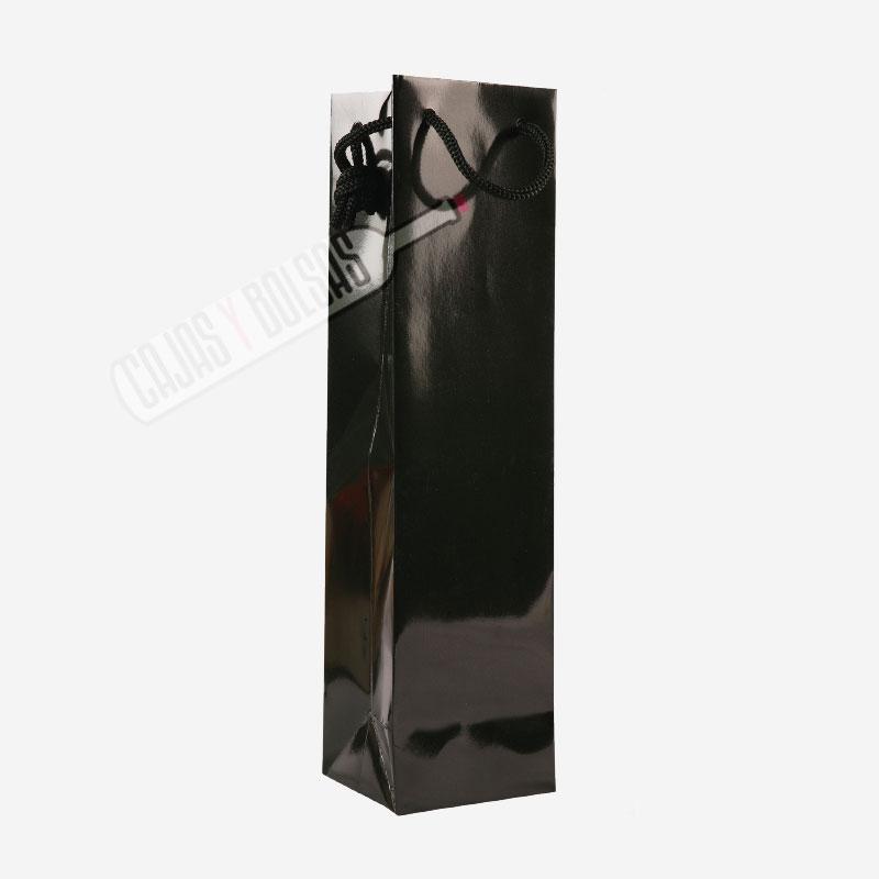 Bolsa negra asa cordonera para 1 botella estucado sin ventana