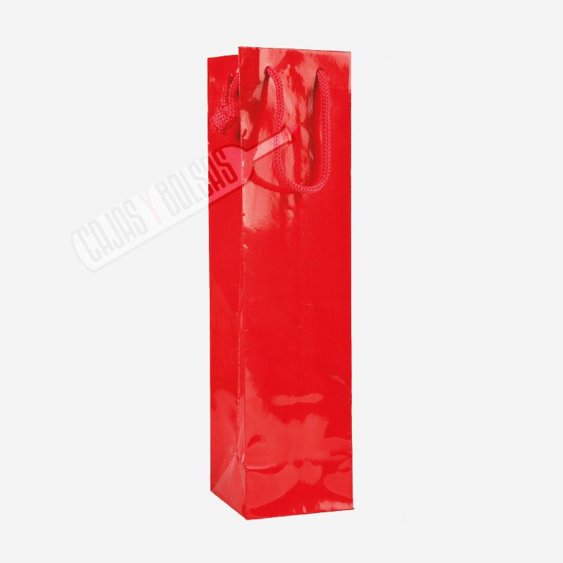 Bolsa roja asa cordonera para 1 botella estucado sin ventana
