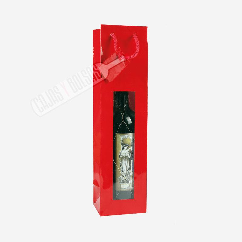 Bolsa roja asa cordonera para 1 botella estucado con ventana