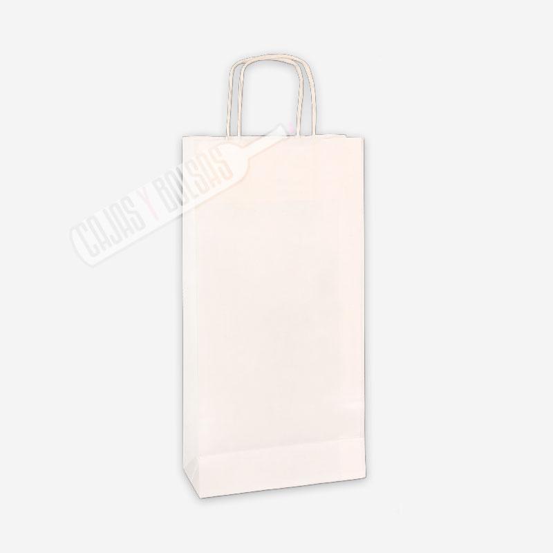 Bolsa asa rigida para 2 botellas celulosa blanco