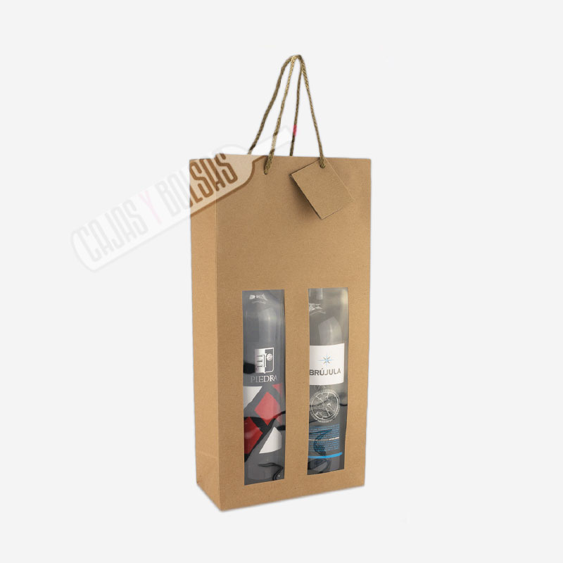Bolsa asa rigida para 2 botellas hawana con ventana
