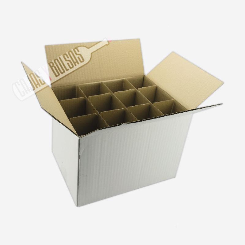 Caja Cartón Blanco para 12 botellas