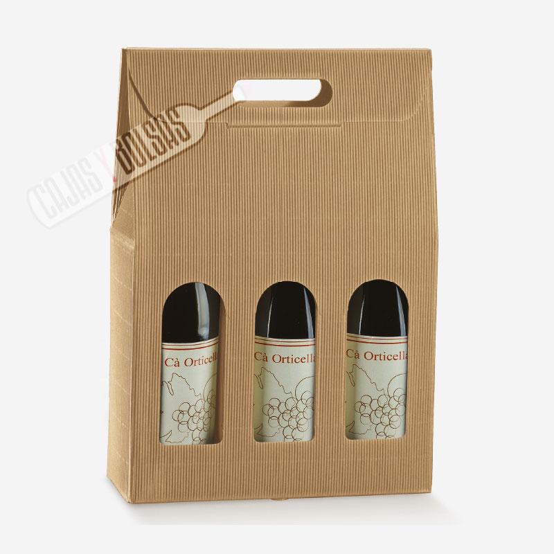 Caja para 3 botellas con asa troquelada colección hawana ondas