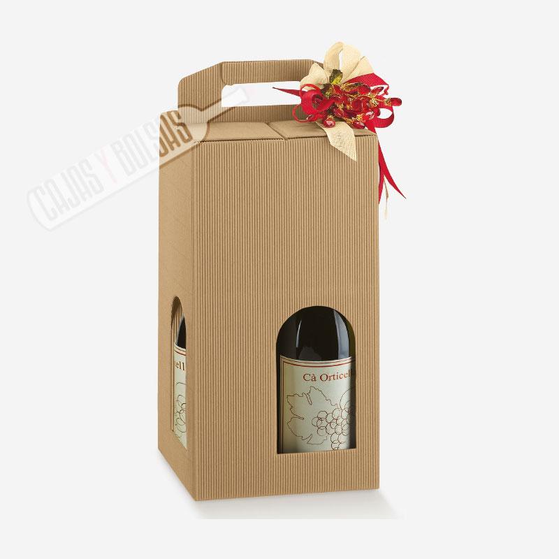 Caja para 4 botellas asa troquelada colección hawana ondas
