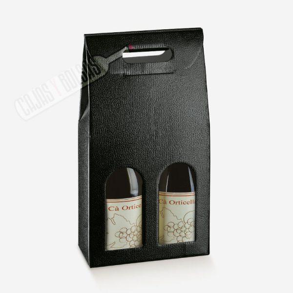 Caja para 2 botellas colección negro gofrado piel