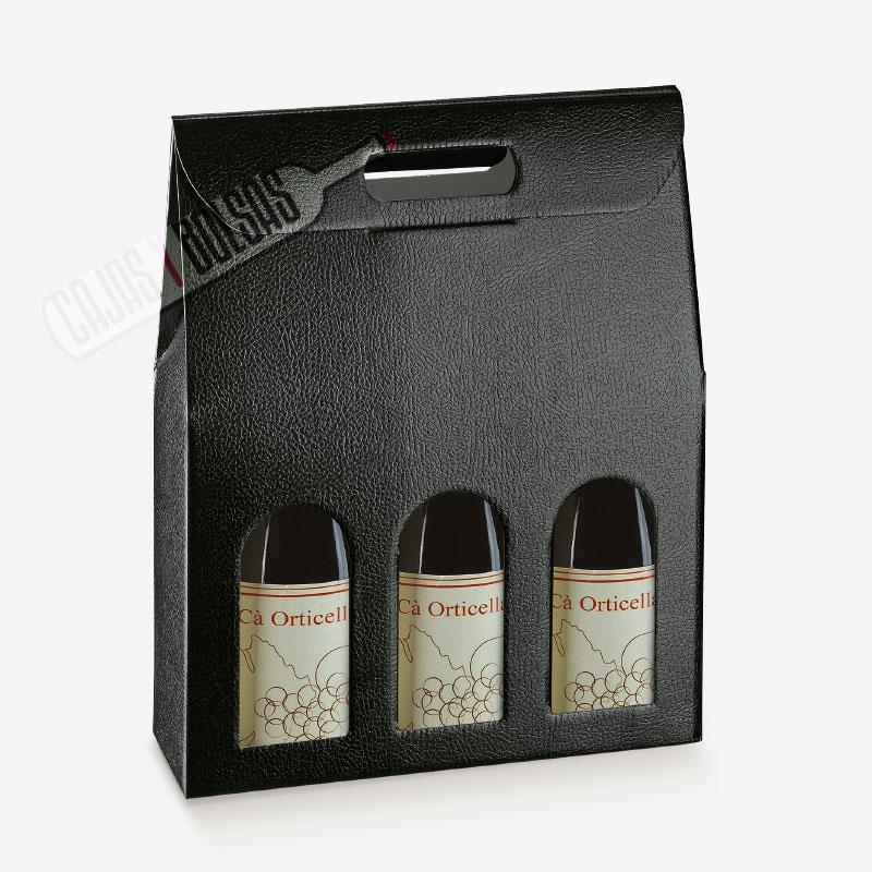 Caja para 3 botellas colección negro gofrado piel
