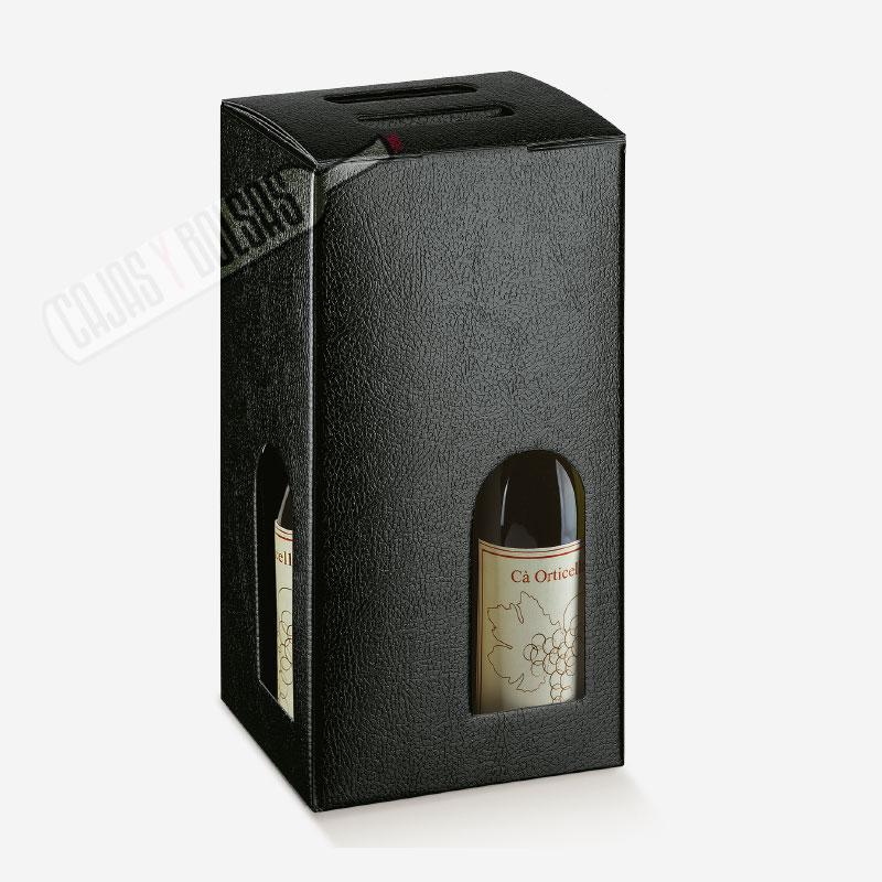 Caja para 4 botellas colección negro gofrado piel