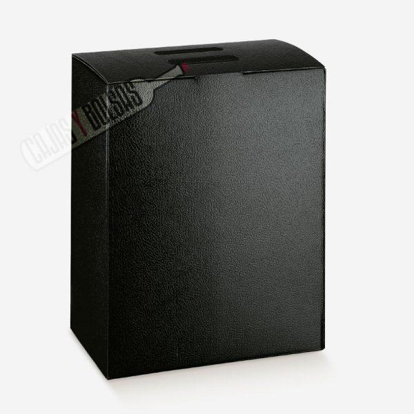 caja para 6 botellas colección negro gofrado piel