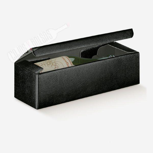 Caja para una botella tumbada colección negro gofrado piel