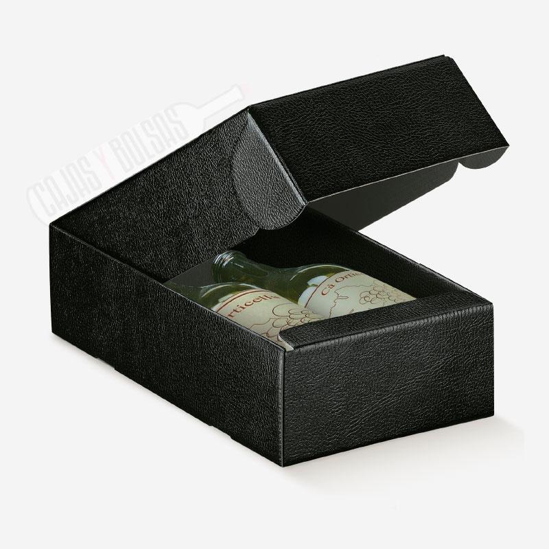 Caja para dos botellas tumbadas colección negro gofrado piel