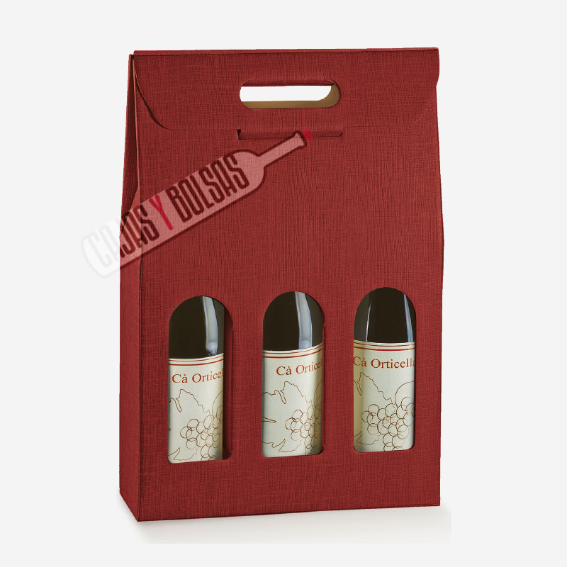 Caja para 3 botellas colección burdeos gofrado