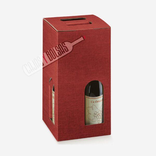 Caja para tres botellas colección burdeos gofrado