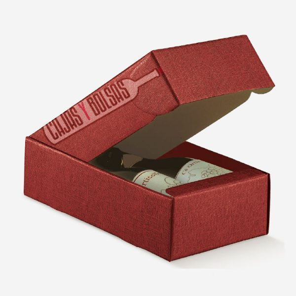 caja para dos botellas tumbadas colección burdeos gofrado