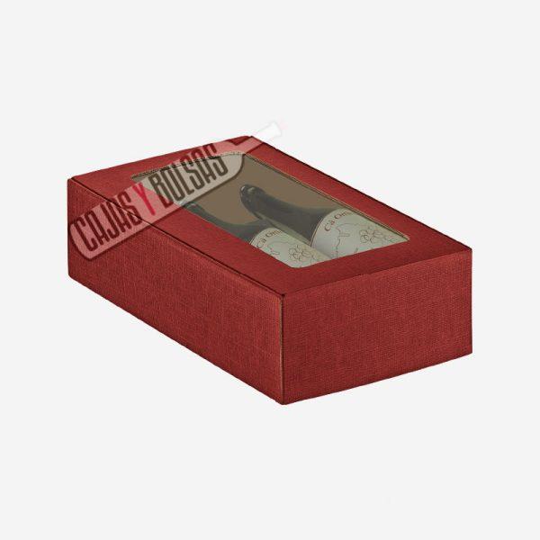 caja para 2 botellas tumbadas colección burdeos gofrado
