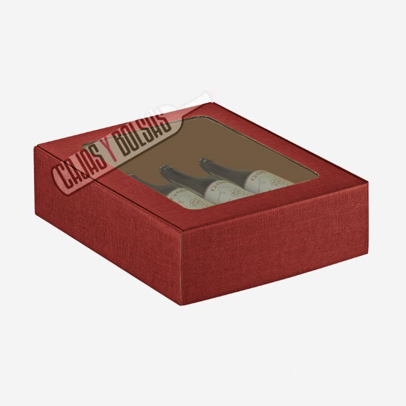 caja para 3 botellas tumbadas colección burdeos gofrado