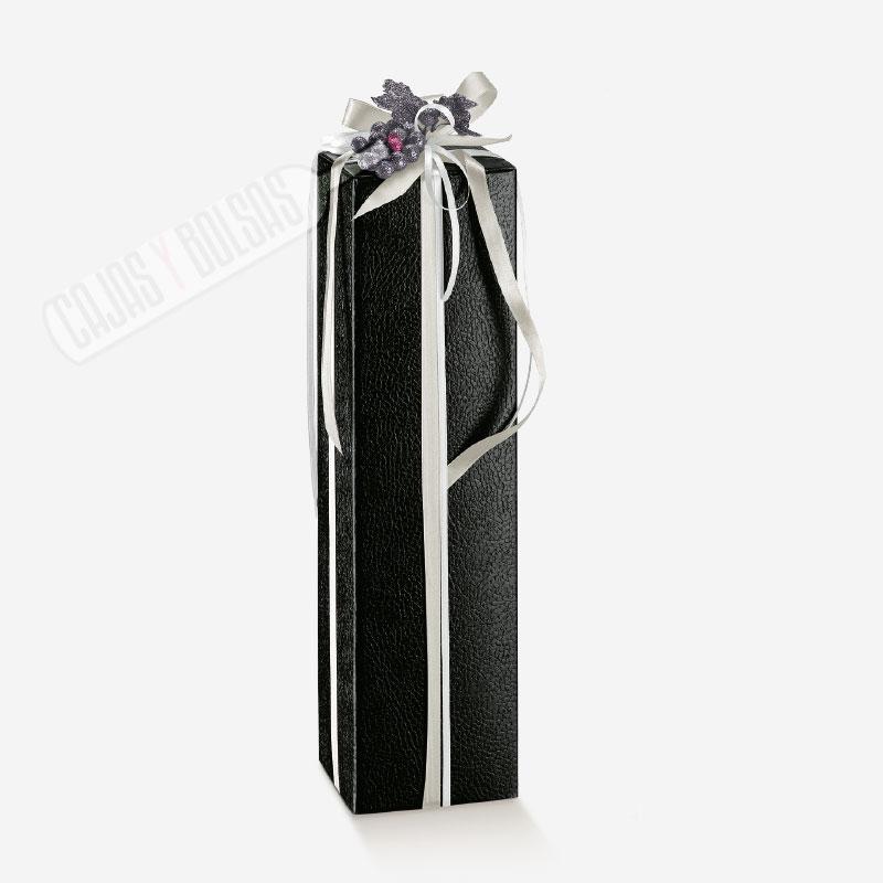 Caja para una botella magnum colección negro gofrado piel