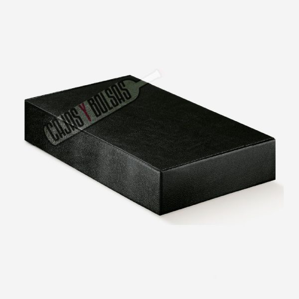 Caja para seis botellas tumbadas colección negro gofrado piel